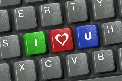 Keyboard with three I love you keys