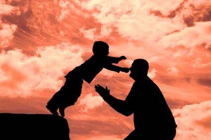 Child trusting and leaping to parent's arms.
